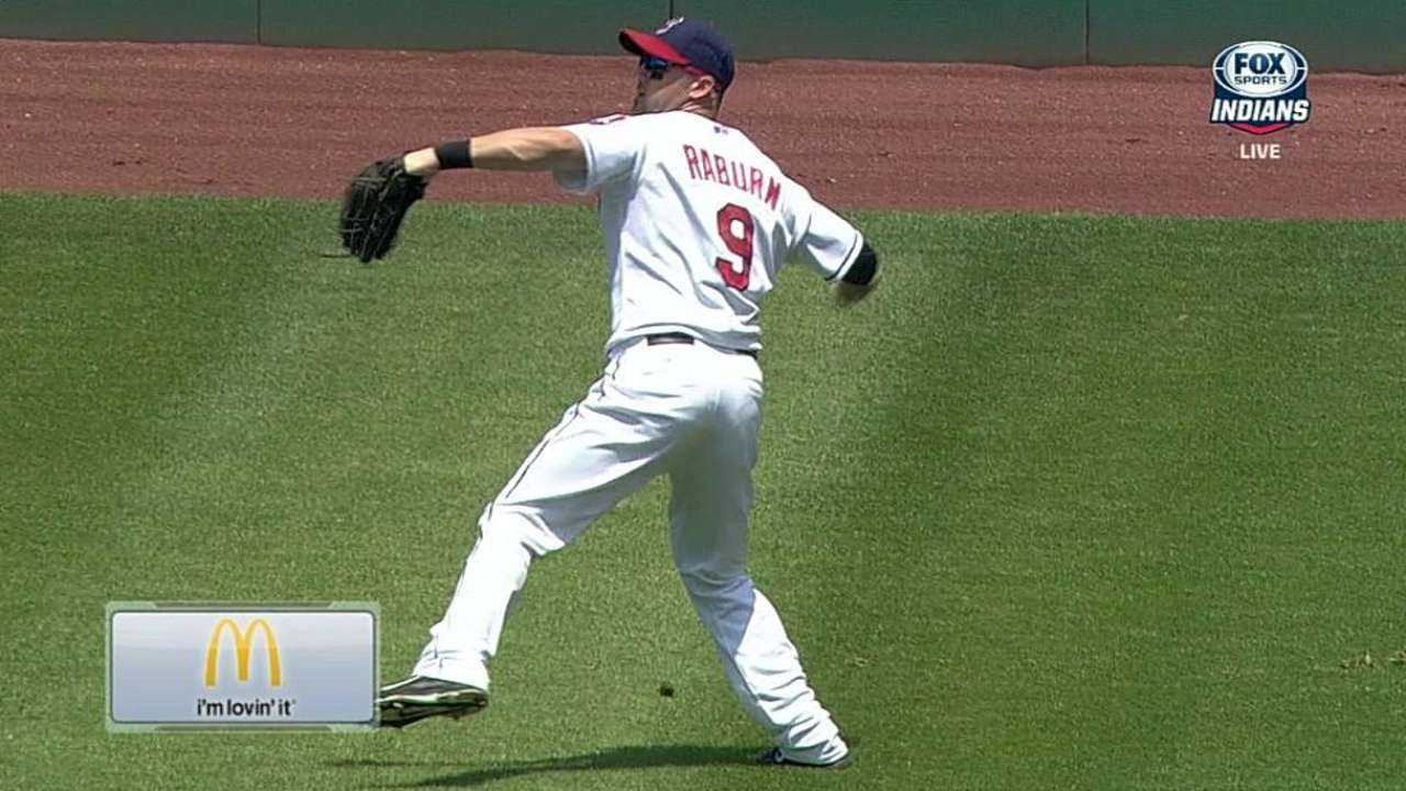 Raburn, Santana turn pivotal double plays