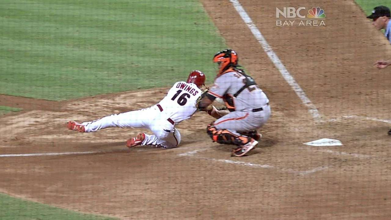 Replay review upholds Giants' tag at plate
