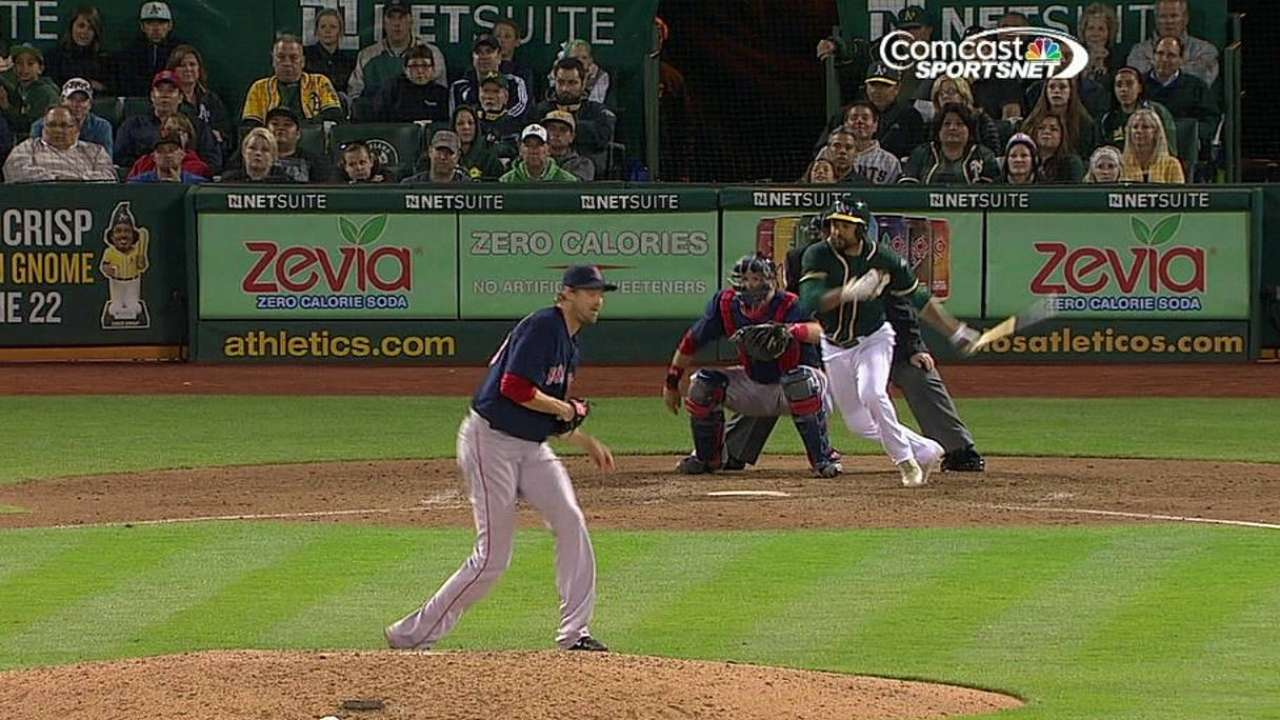 Crisp's eighth-inning RBI single lifts A's past Sox