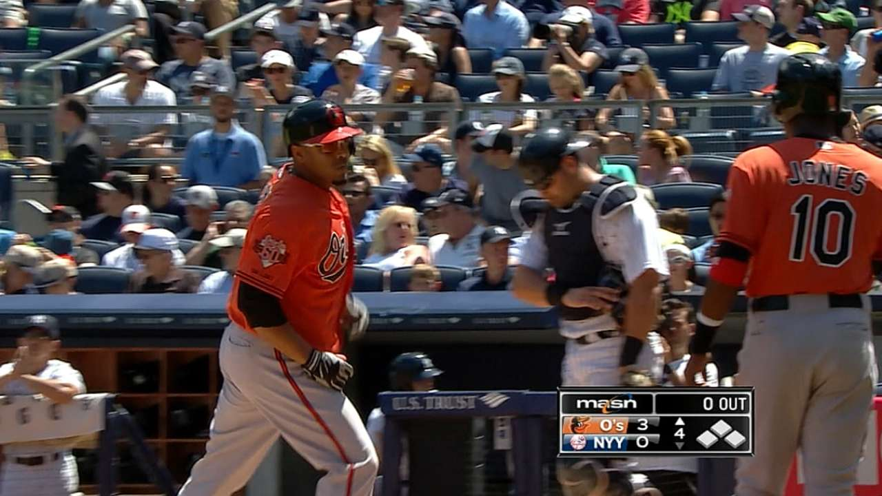 Orioles use four homers to power past Yankees