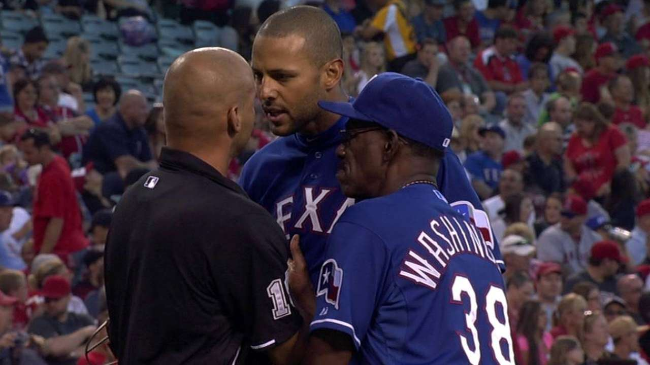Rios, Choice ejected after arguing balls and strikes