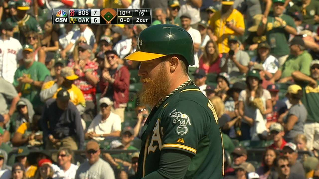 A's call on closer Doolittle to pinch-hit in 10th