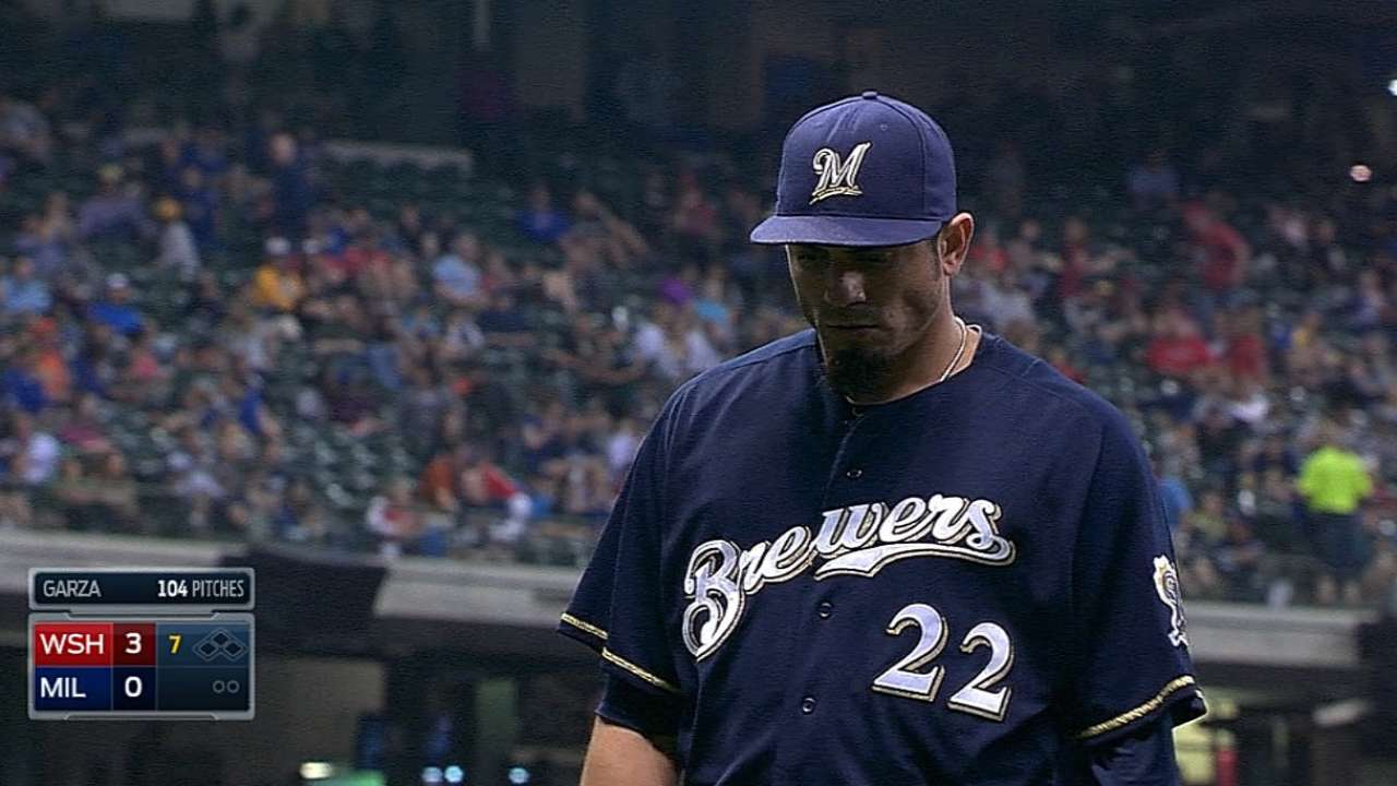 Change of pace: Brewers bats silenced by Nats