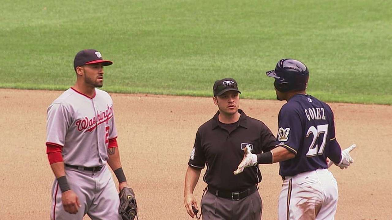 Nats, Brewers keep cool after benches clear