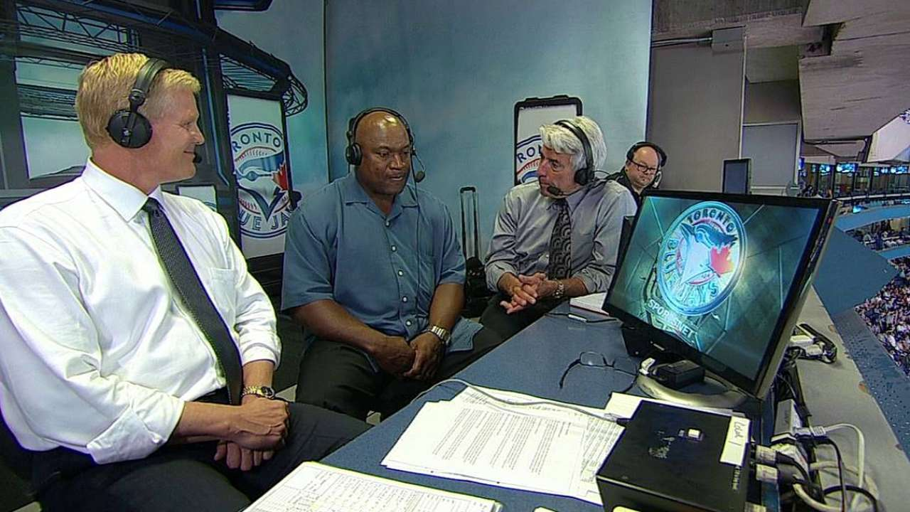 Bo Jackson in Blue Jays' booth