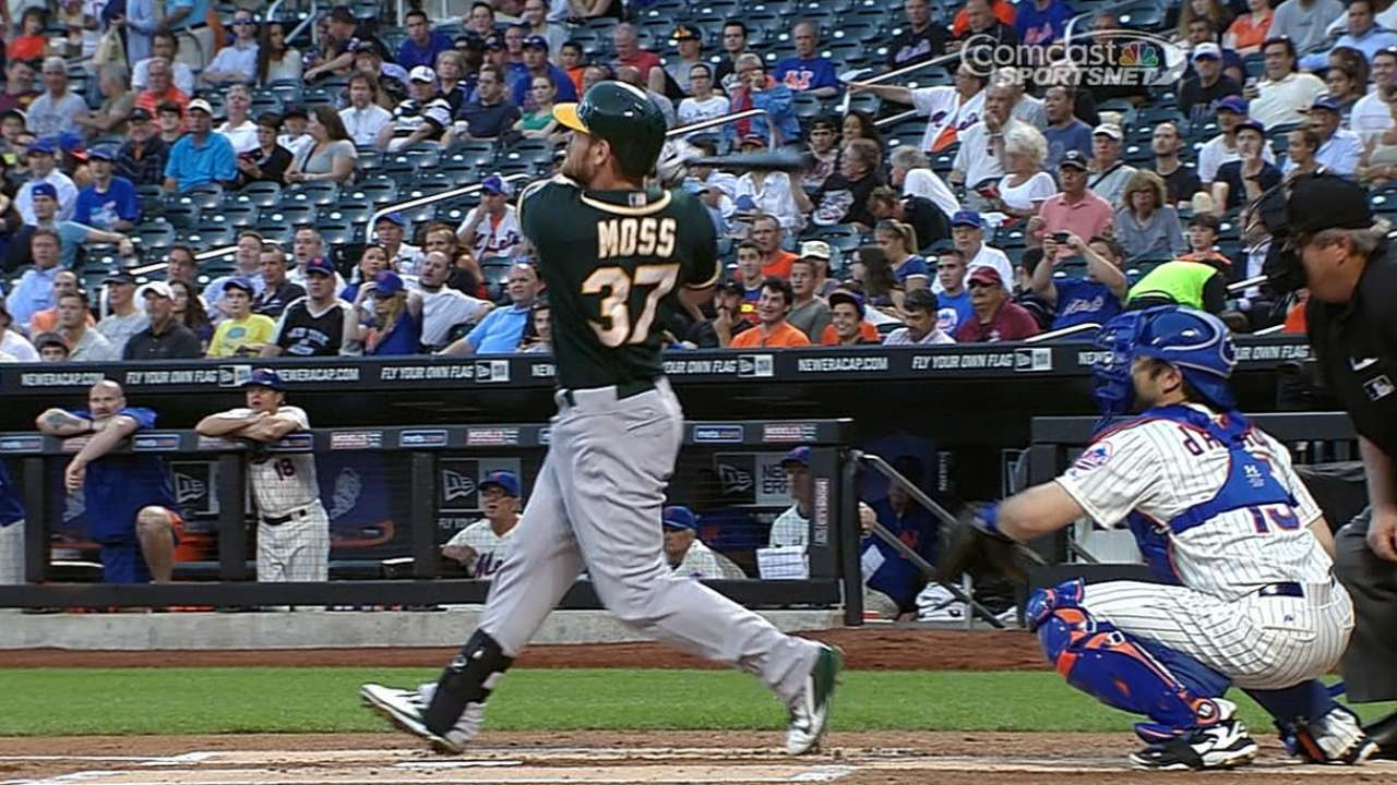 Moss, Crisp homer as A's get payback against Mets