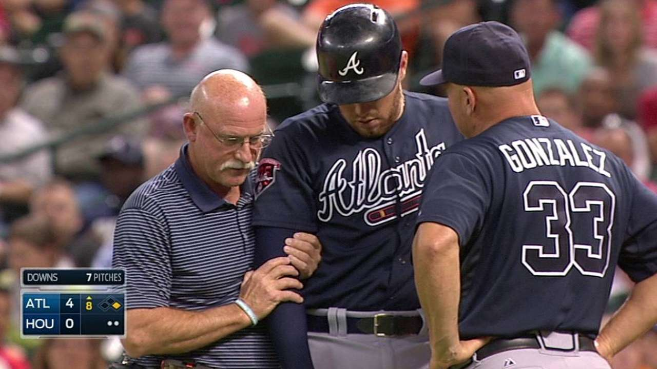 Freeman OK after getting elbow hit by pitch