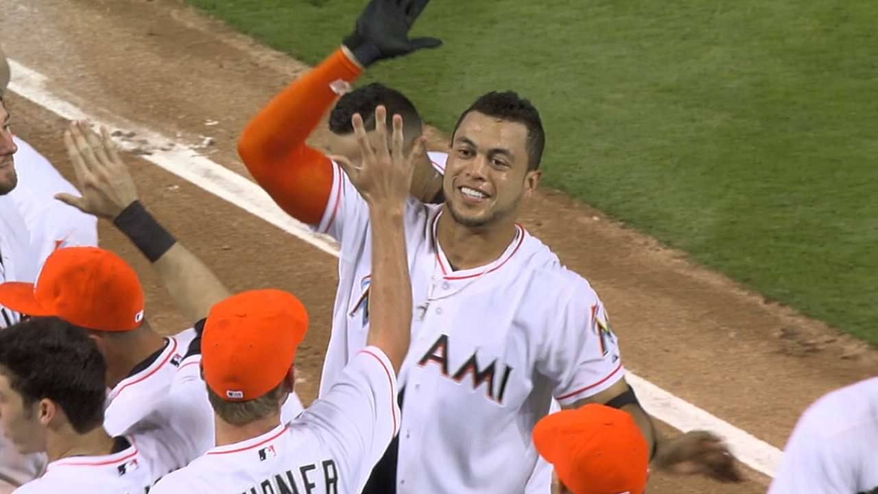 Stanton further etching name in Marlins record books