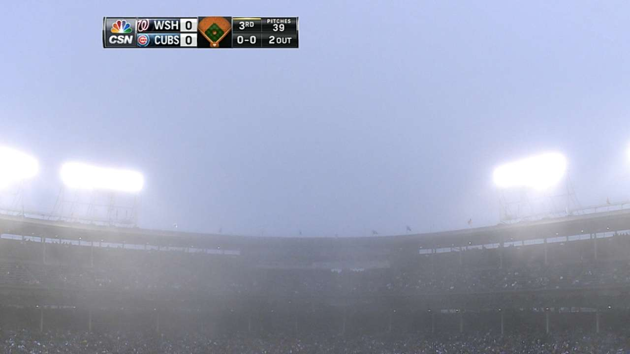 Nationals, Cubs play their way through foggy night