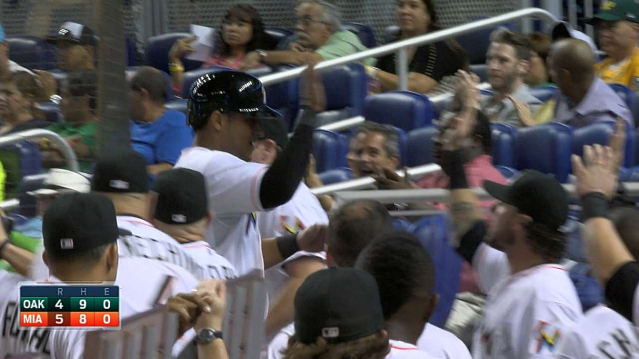 Marlins rally from four down, only to stumble late