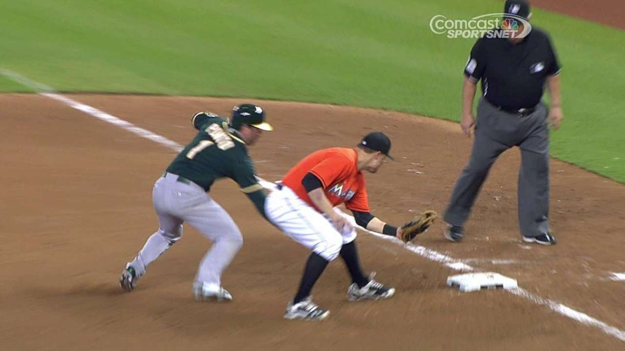 Mathis nabs Punto with crafty pick-off throw