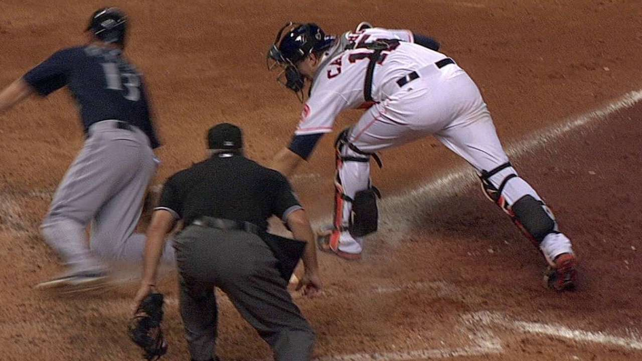 Umps confirm call at plate after review in Houston