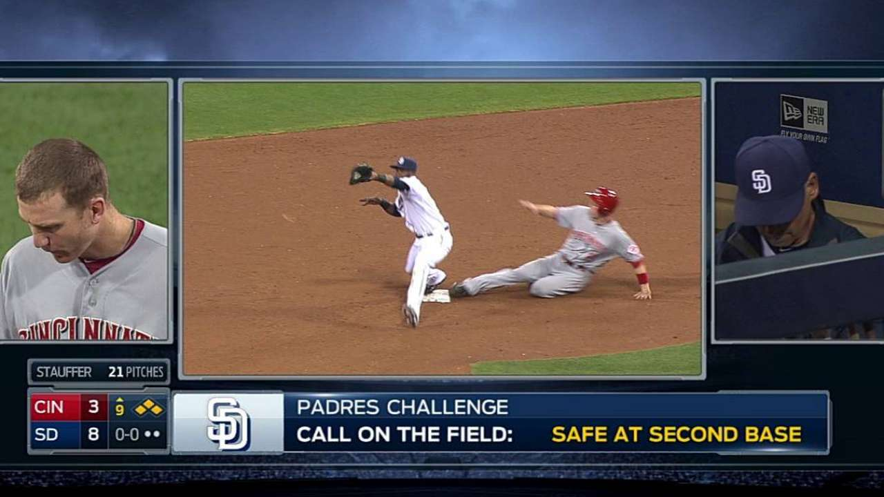 Overturned call on force play seals Padres' win