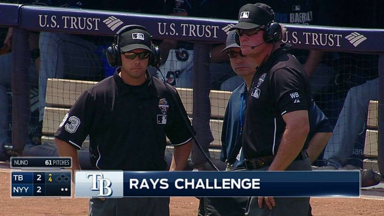 Replay unkind to Rays in two reviews vs. Yanks