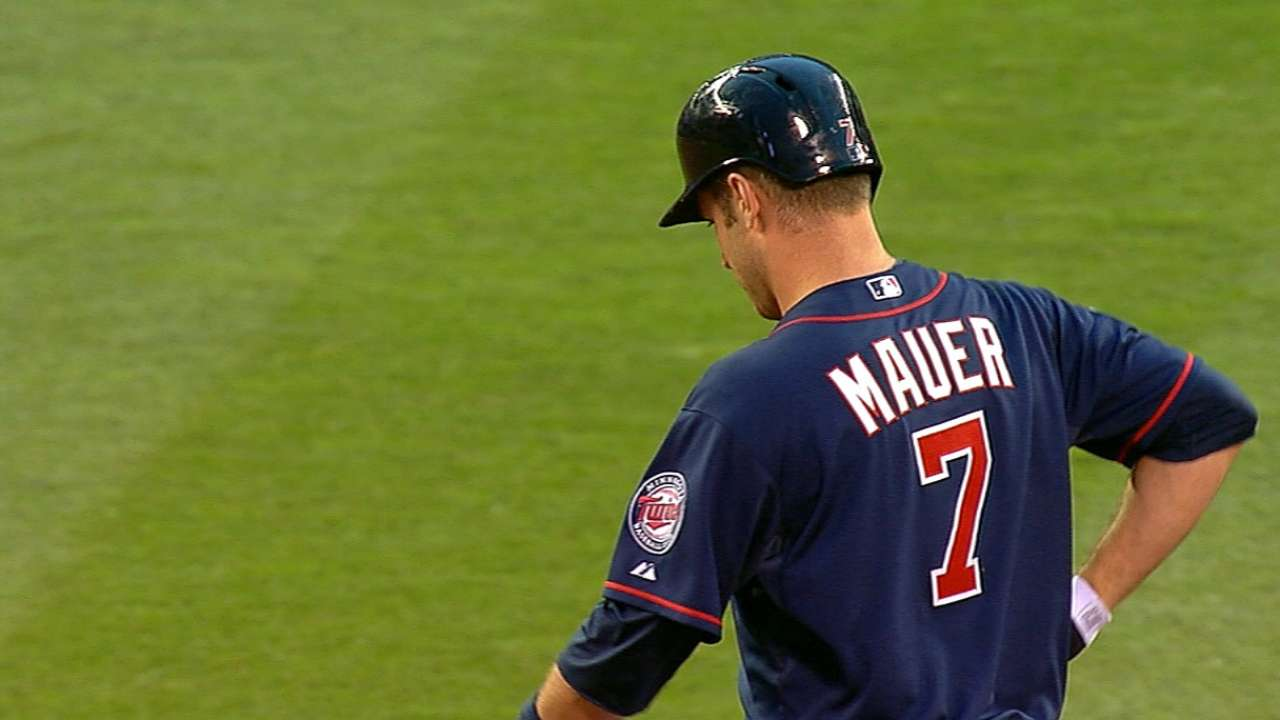 Twins place Mauer on DL, recall Colabello