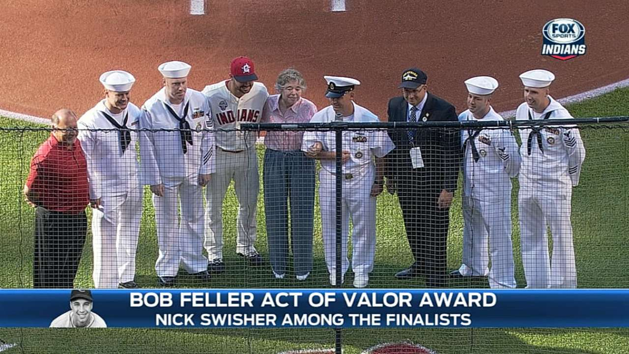 Swisher nominated for Bob Feller Act of Valor Award