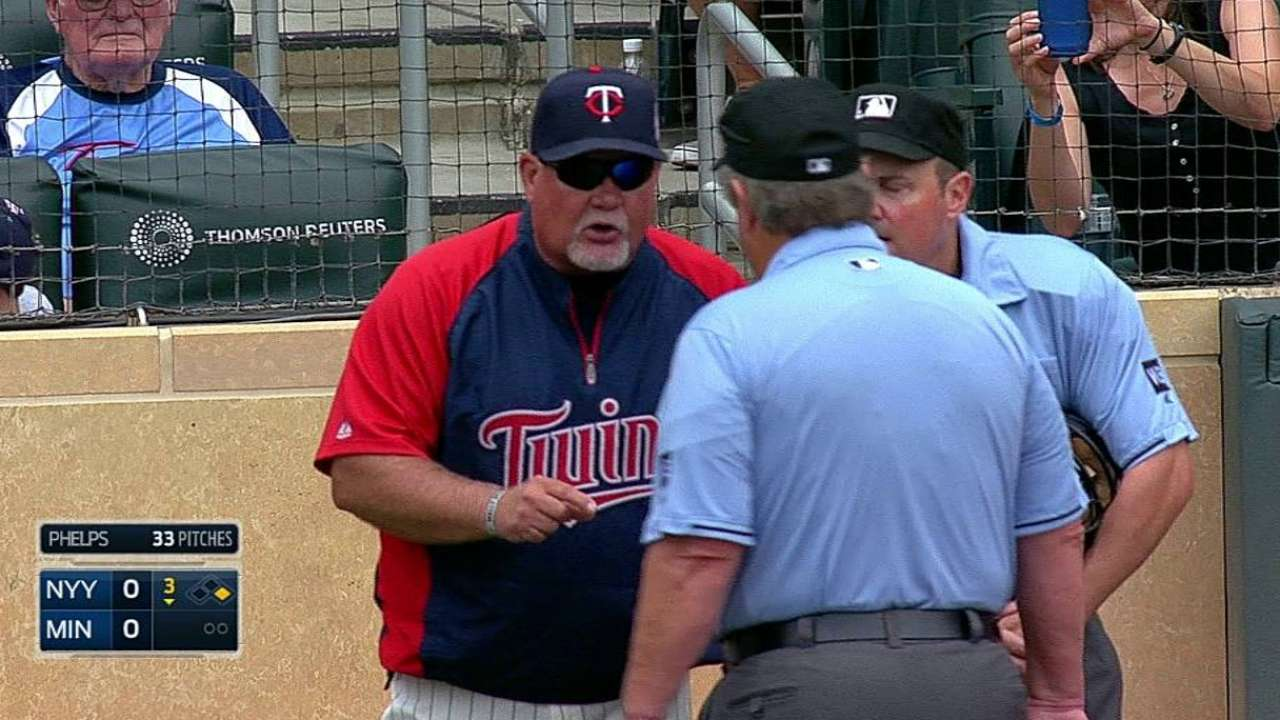 Gardenhire ejected after arguing for balk call
