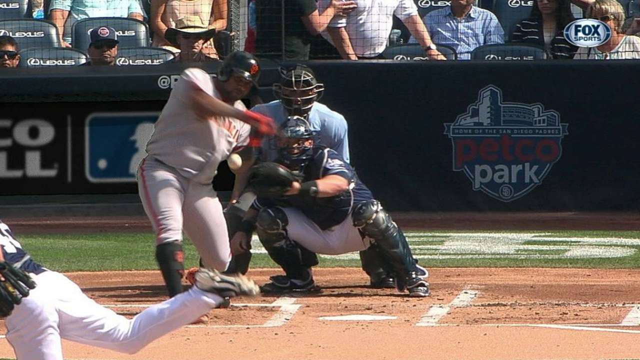 Pitch hits Sandoval's arm, forces early exit