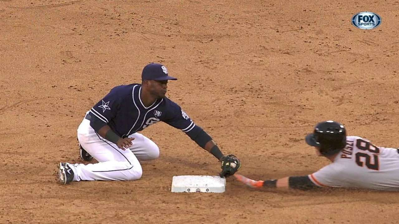 Posey safe after Padres' unsuccessful challenge
