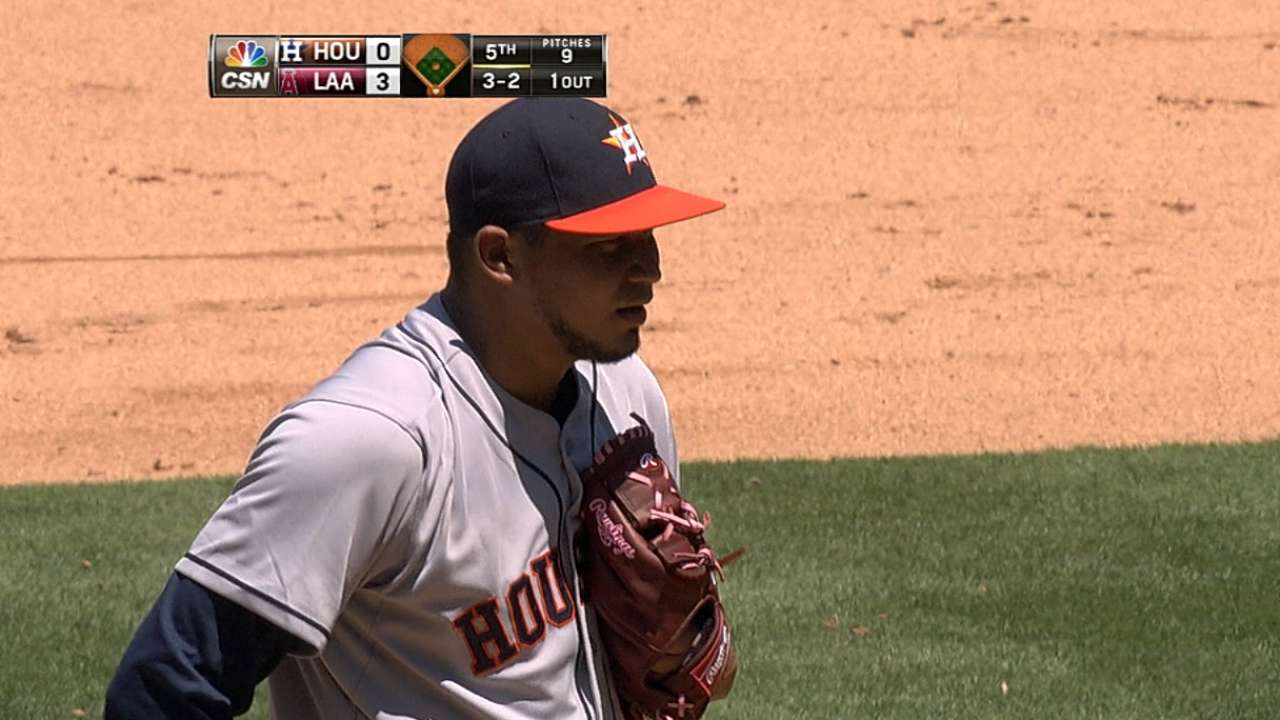 Astros option Santana, recall reliever Martinez