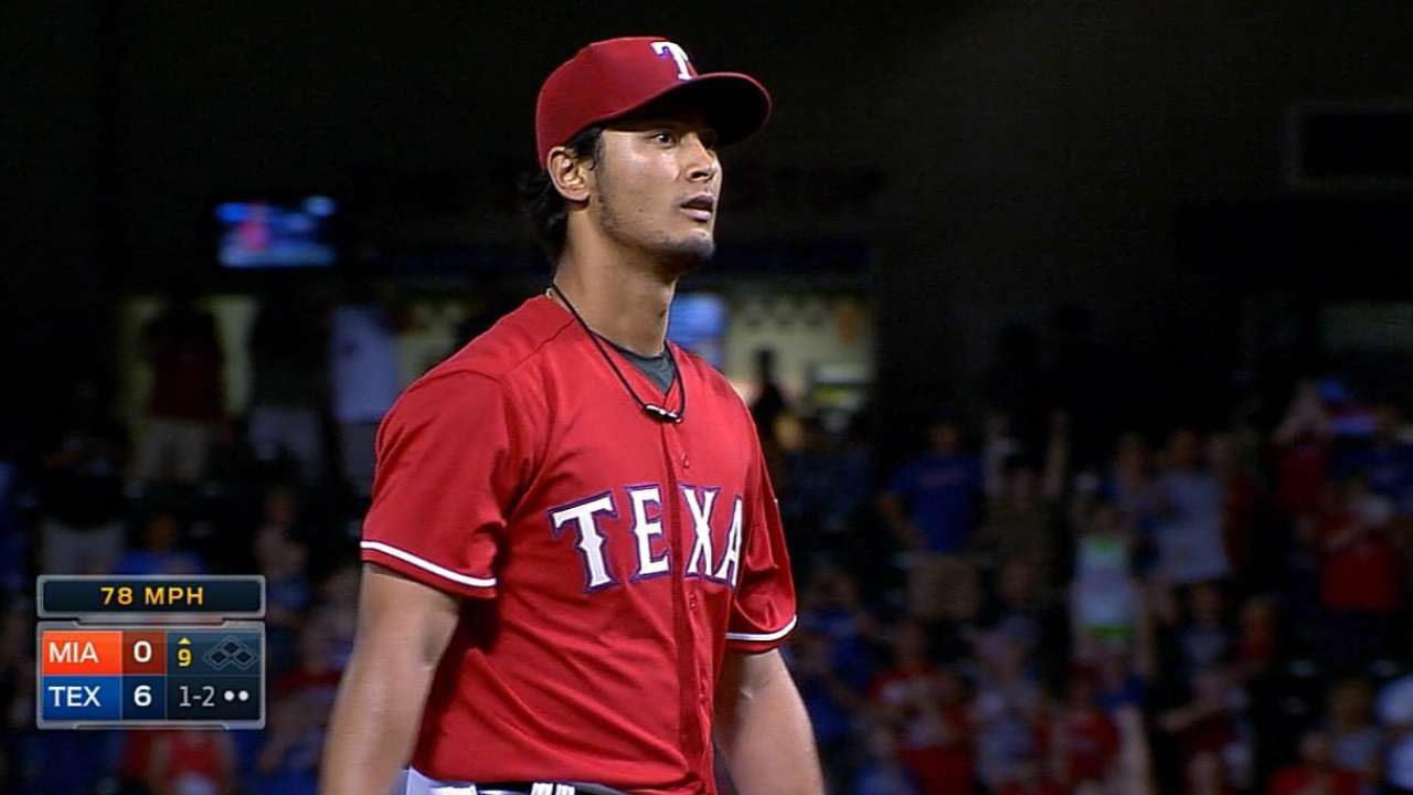 Darvish OK after getting hit in head by ball in BP