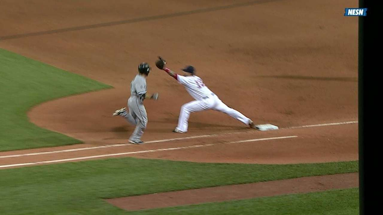 Red Sox win challenge of close play at first base
