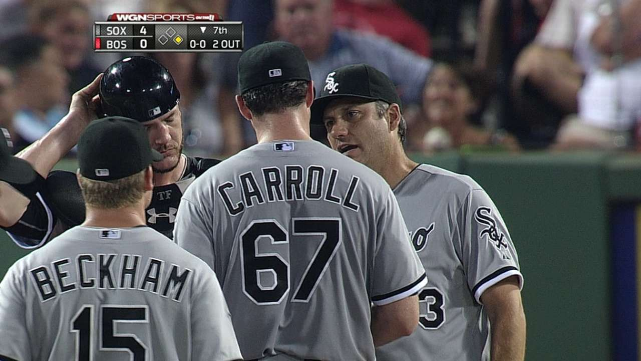 Carroll dominates Red Sox for first win since May 27