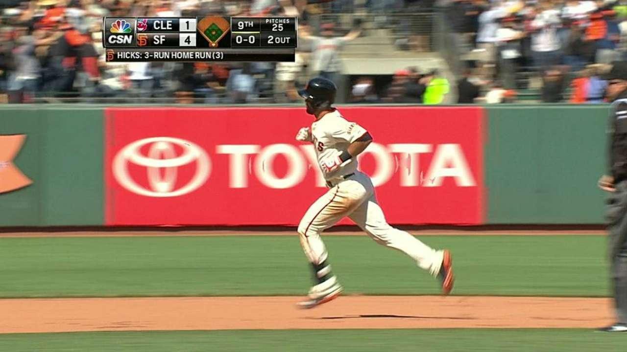 Giants sweep Indians on Hicks' walk-off homer