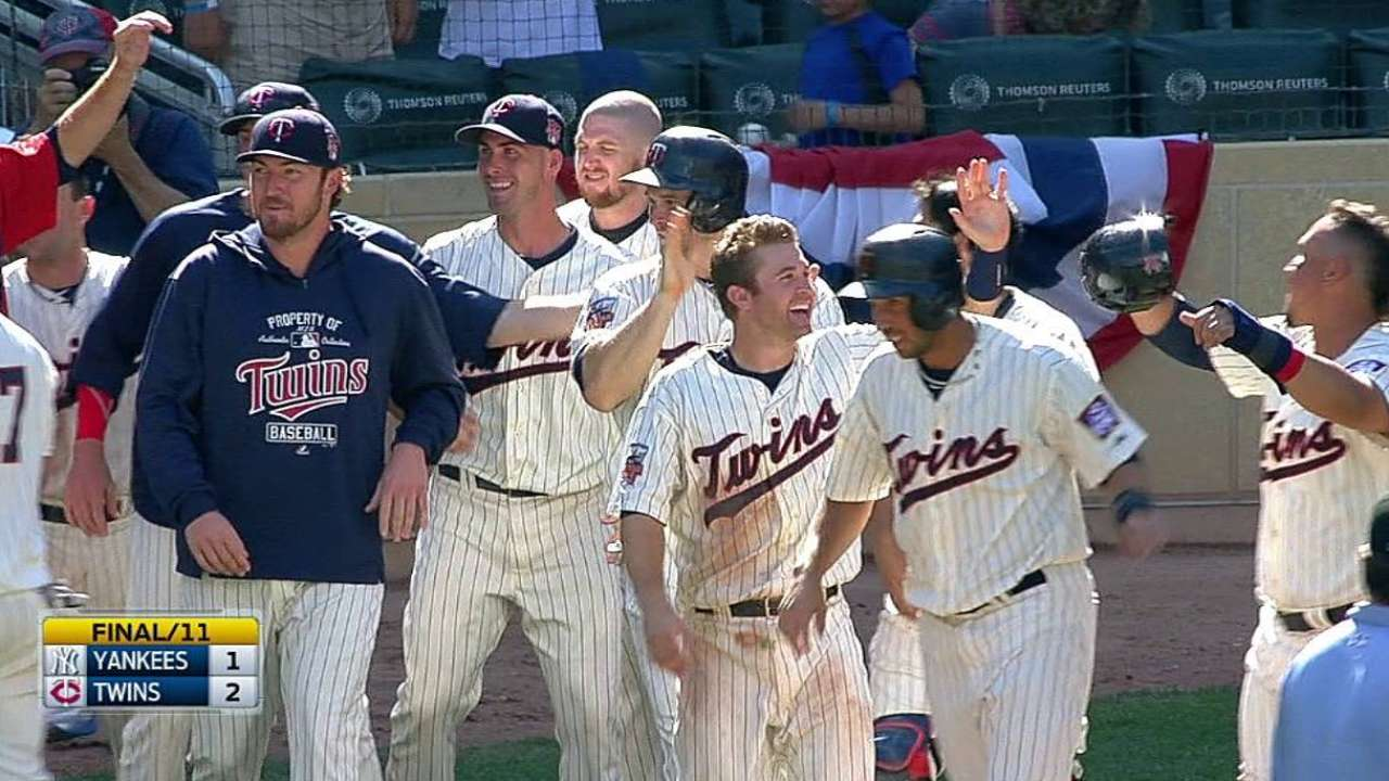Twins capitalize on error to walk off in 11th inning