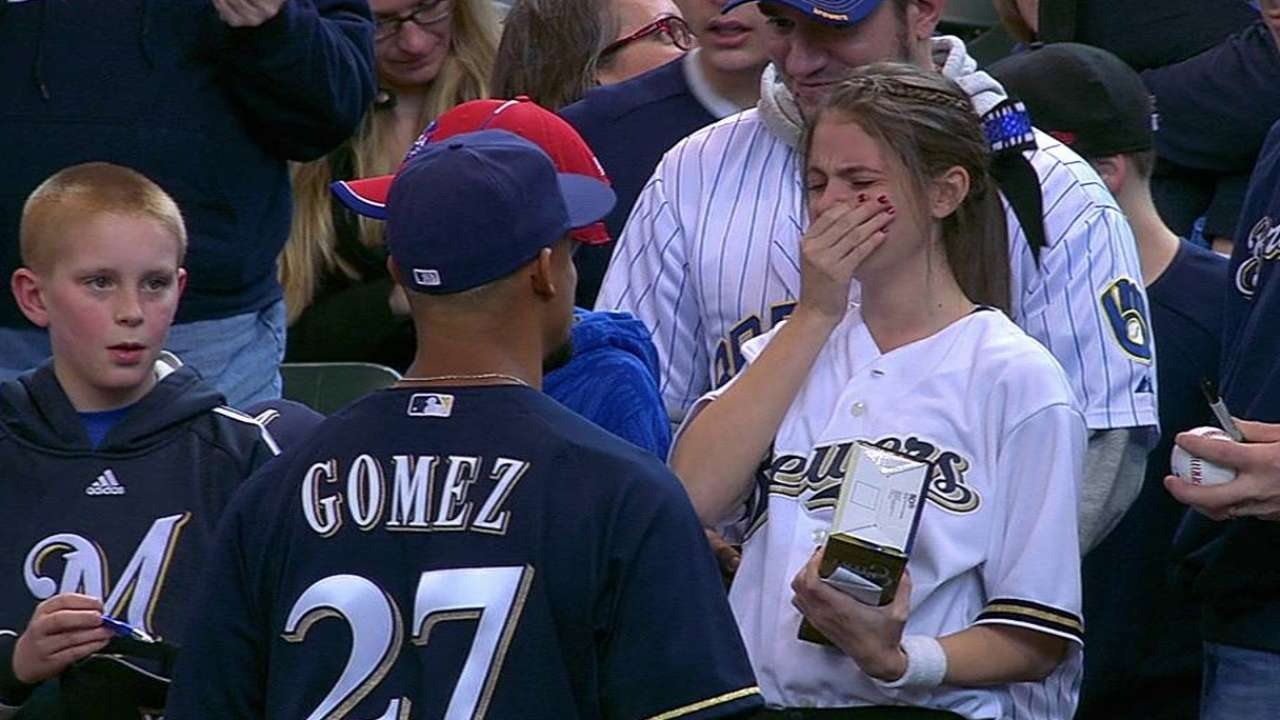 Crying fan: Brewers' Gomez is 'my idol'