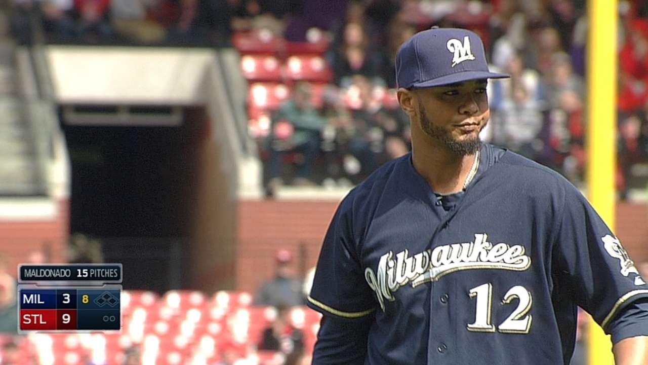 Brewers' roster crunch forces Maldonado to hill