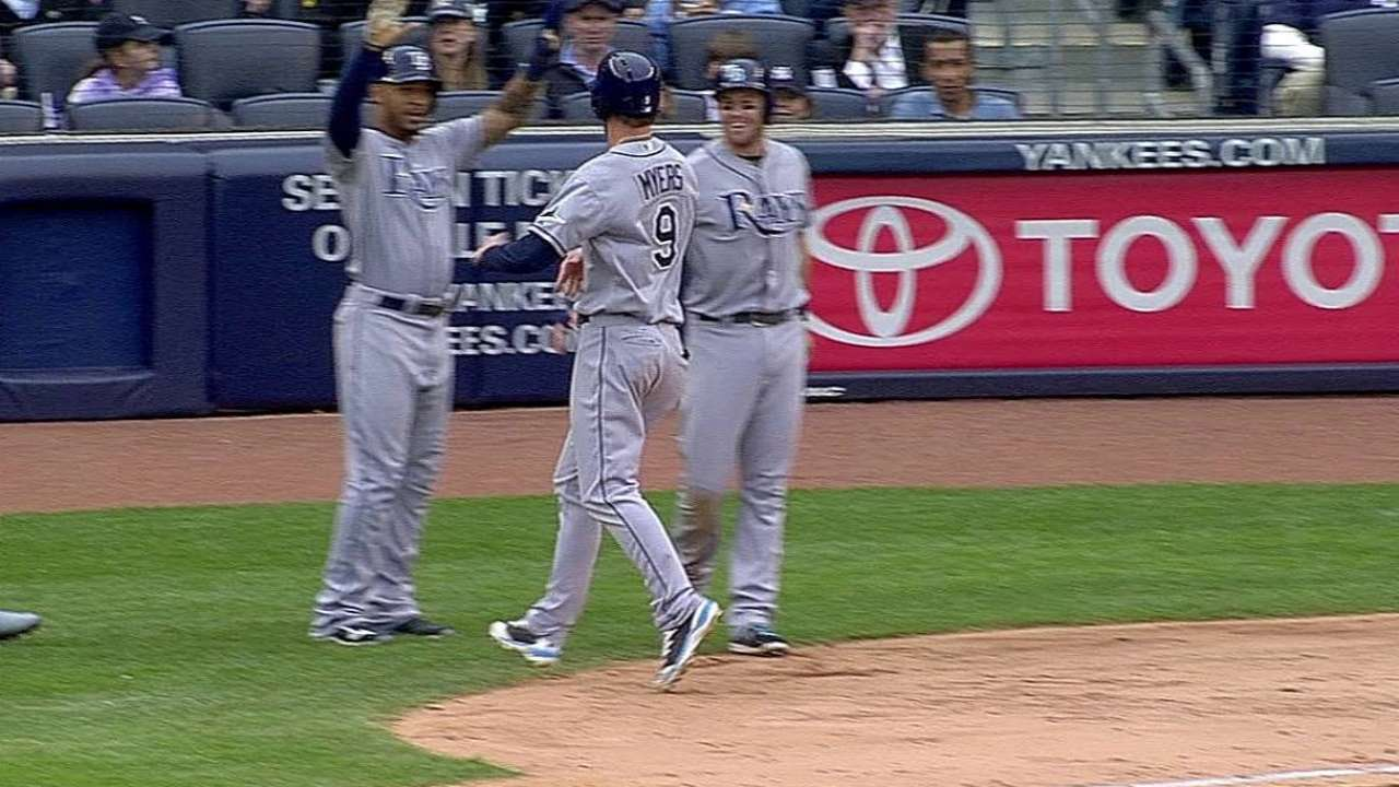 Myers' inside-the-park HR, four RBIs lift Rays