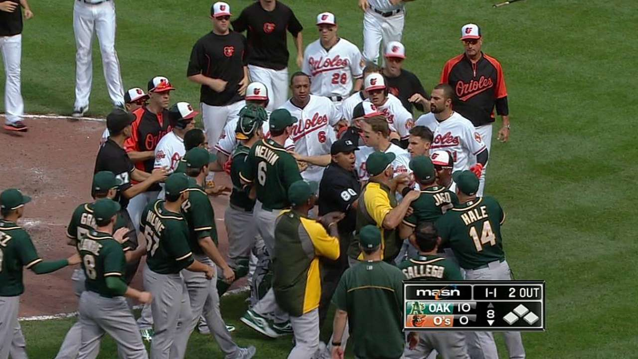 A's critical of Machado after benches clear