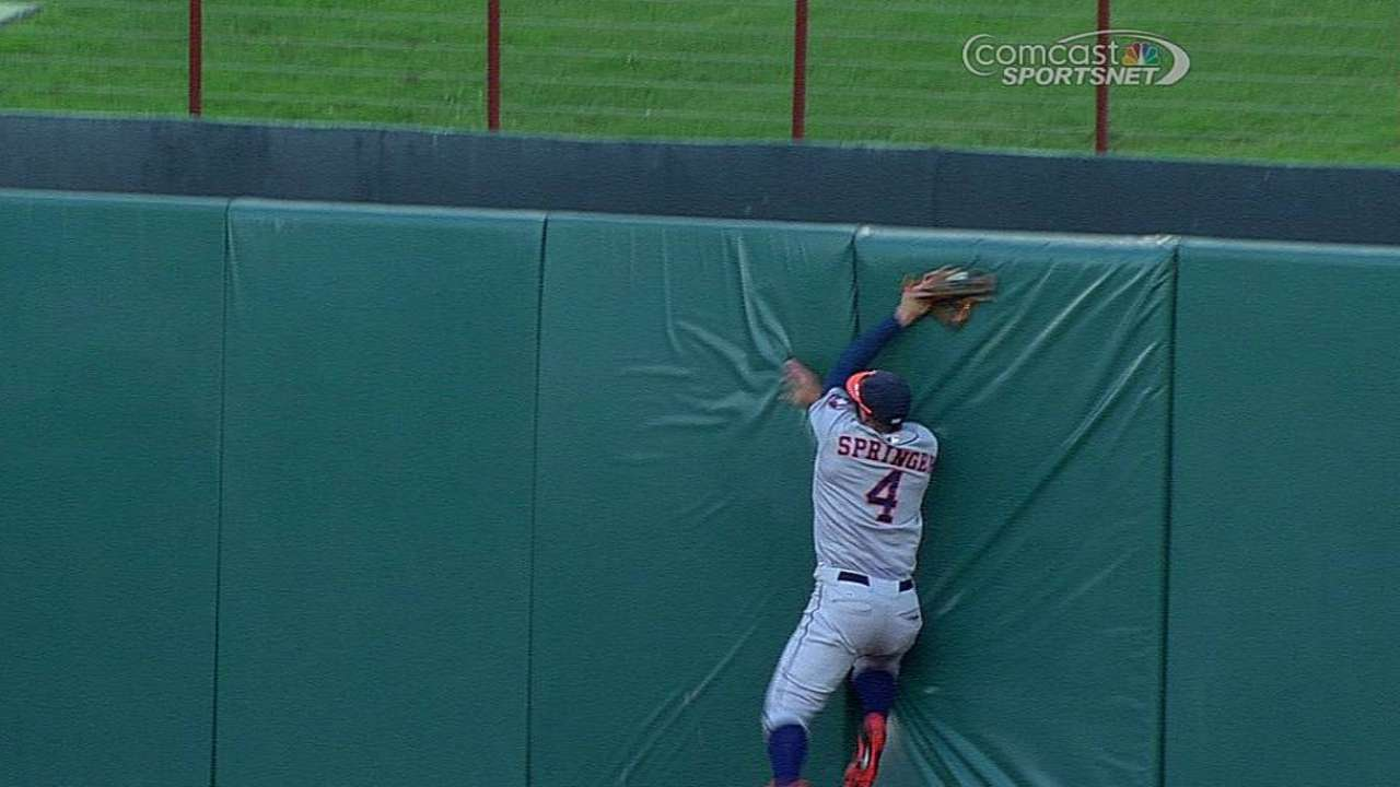 Springer impersonates Superman with highlight catch