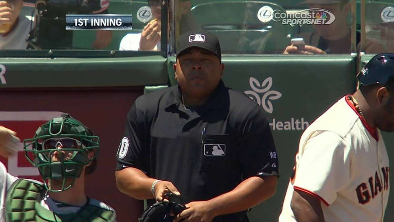 Umpire Johnson departs with possible concussion