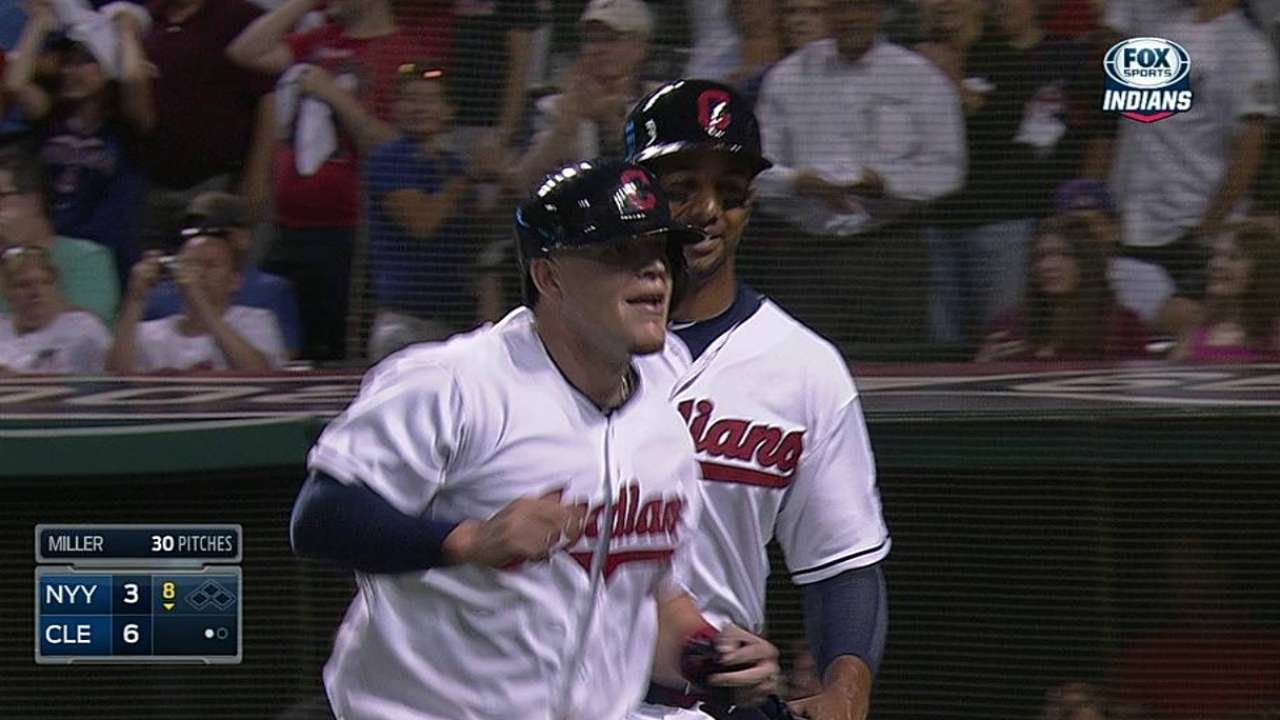 Replay gives Tribe's Perez first big league homer