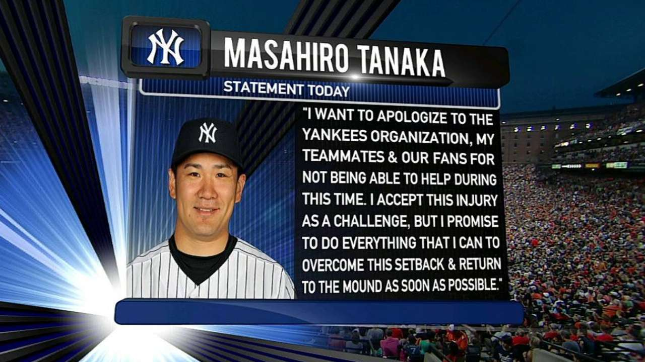 Tanaka apologizes for injury, vows to return strong