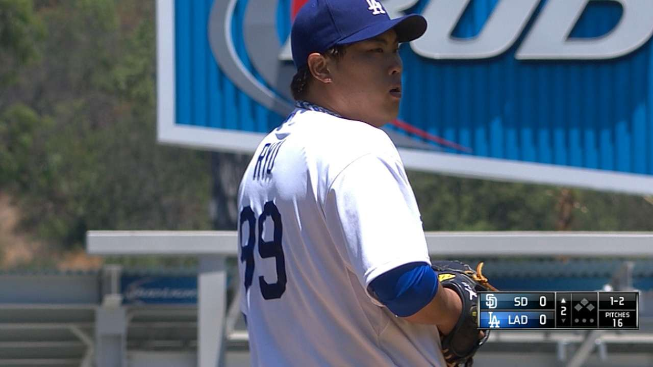 Ryu's return to form leaves Dodgers atop NL at break