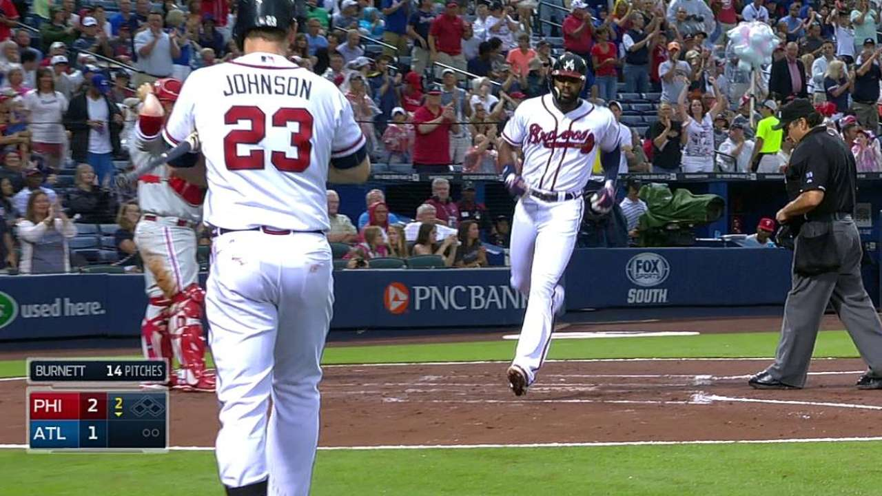 Clutch two-out knocks lift Braves to open second half