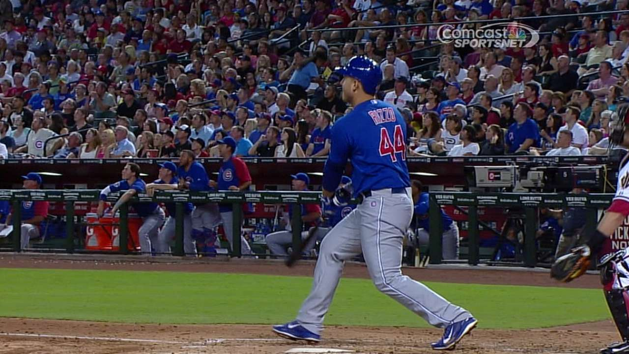 Rizzo tees off twice, but Cubs drop desert opener