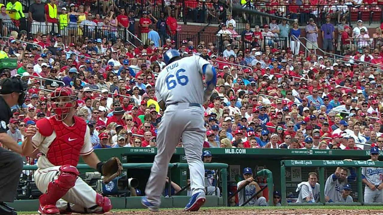 Sore hand keeps Puig out of lineup Sunday