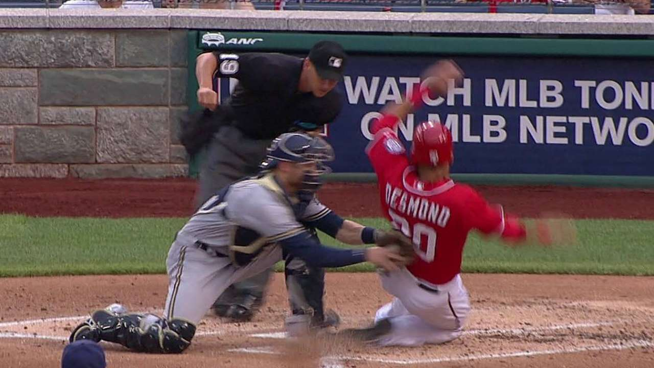 Replay confirms out at plate in Nats-Brewers contest