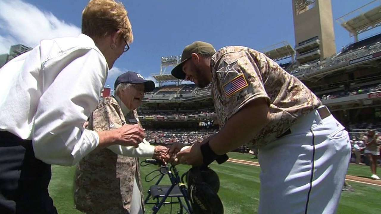 McKee, 105, throws out first pitch at Padres game