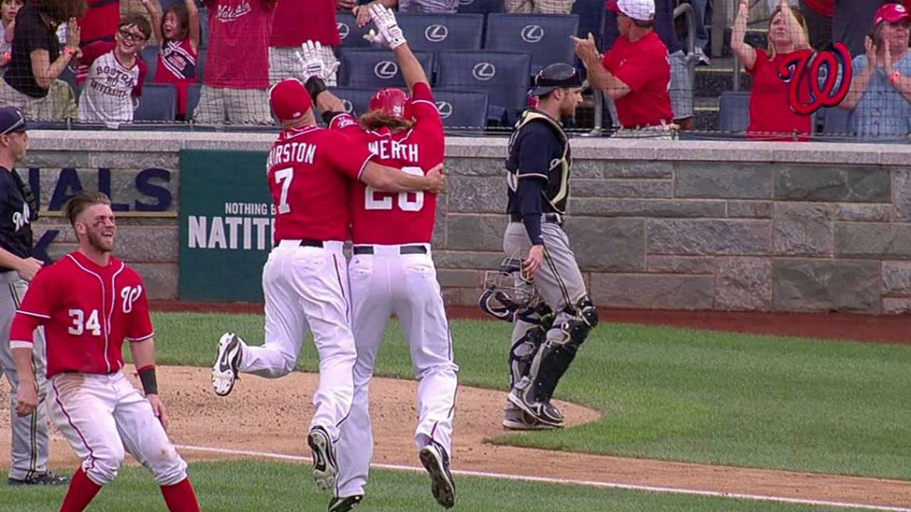 Nats take series from Crew on Werth's walk-off double