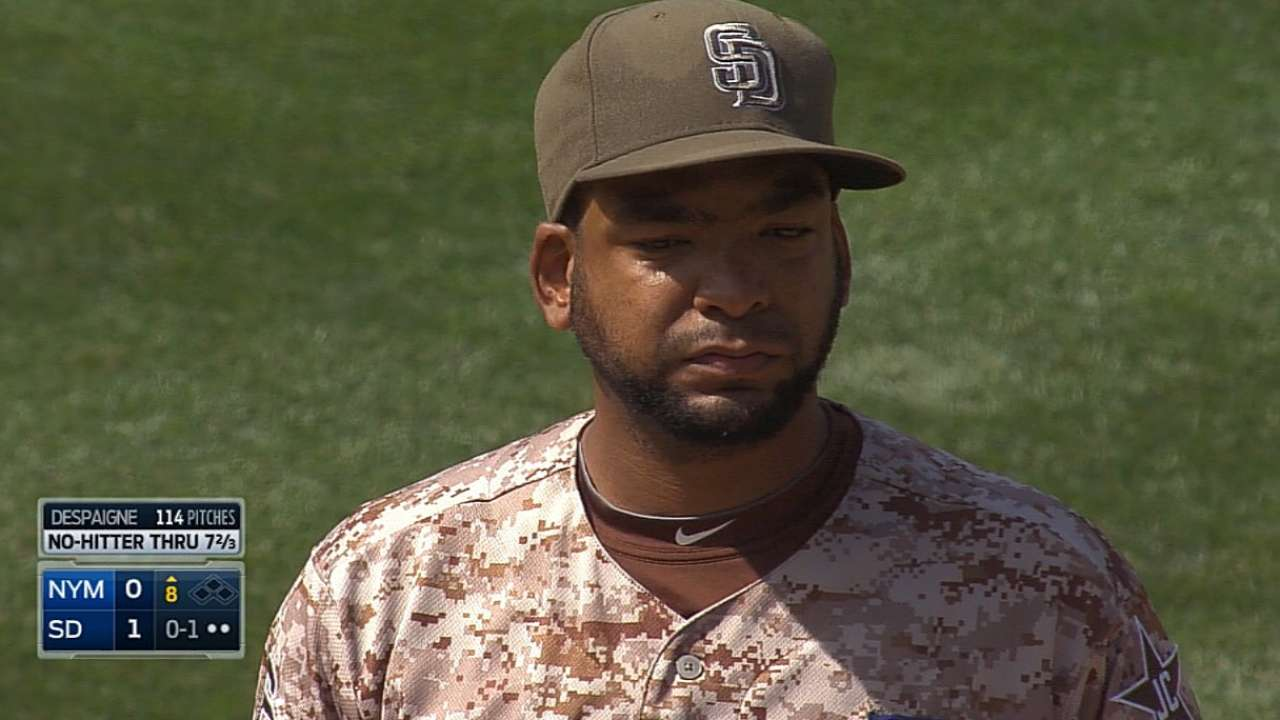 Despaigne comes oh so close to Padres' first no-hitter