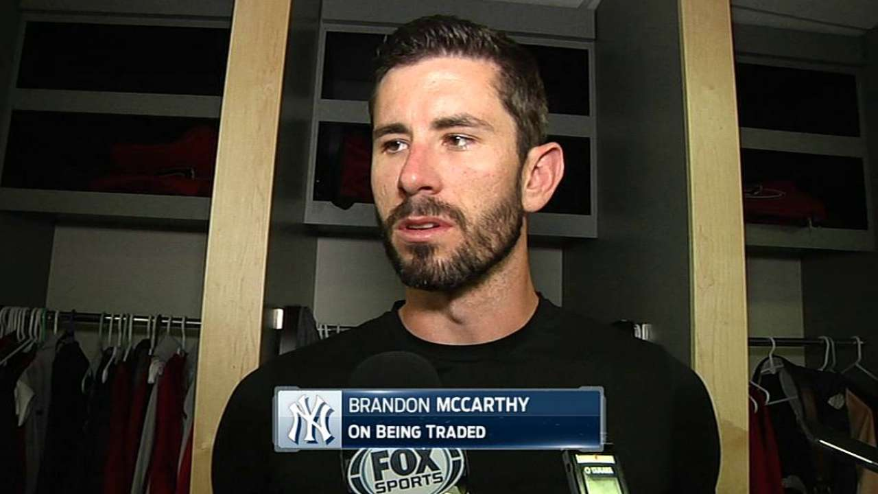 Yankees acquire McCarthy from D-backs for Nuno