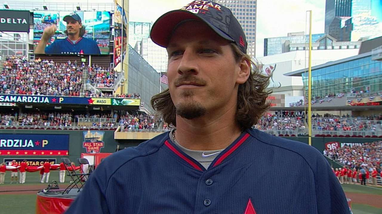 Samardzija stands with NL, but roots for AL ASG win