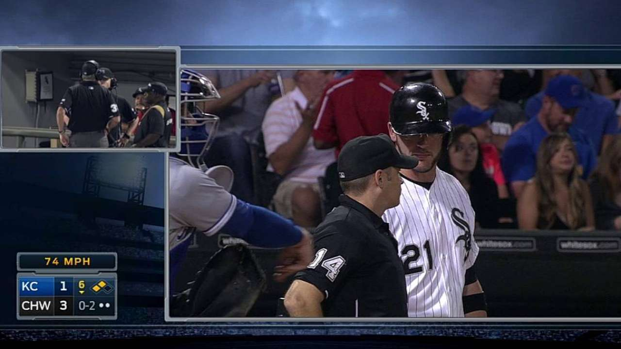 Flowers' foul ball confirmed by umpires' review