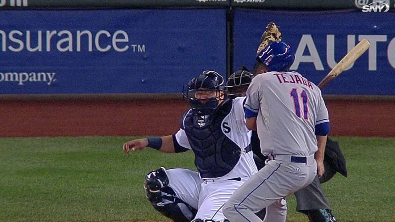 Tejada sits as precaution after getting hit in head