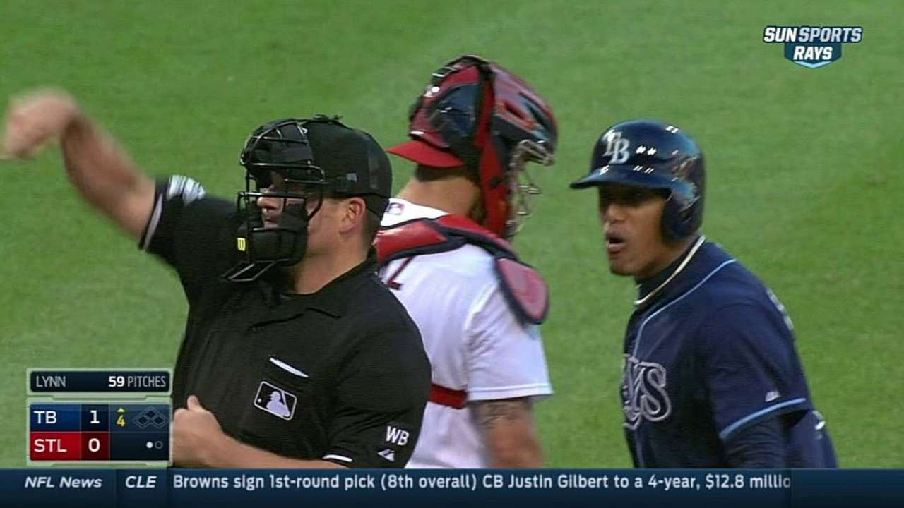 Escobar ejected after arguing called third strike